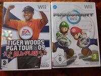 Nintendo Wii Mario kart and Tiger Woods PGA tour 09 games