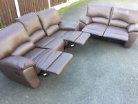 Brown reclining leather sofa suite
