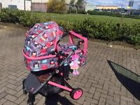 Cosatto Wish (former Air) 2-in-1 Travel System in Kokeshi Smile + Porto 0+ carseat with ISOfix base