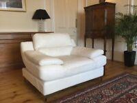 Cream Leather Corner Sofa and armchair