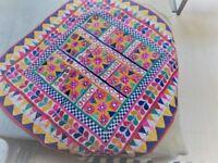 Indian Vintage Embroidered Banjara Ethnic Art Mirror Work Tapestry Wallhanging 85x85cm