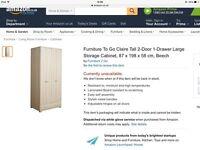 Brand New Tall Beech Storage Cabinet