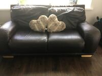 DFS brown Italian leather 3+2 + footstool