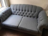 Vintage style pastel blue 2 seater sofa & footstool