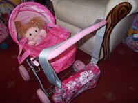 dolls pram with dolly and bag £5 for all