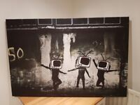 Extra large Banksy-style canvas in excellent condition