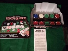 Poker chips, with green table cloth