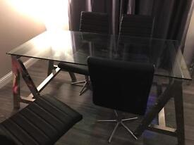 Glass and chrome dining table / desk