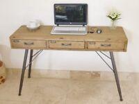 Retro Industrial Three Drawer Desk