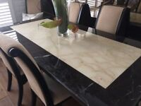 Perfect Condition Italian Marble Dining Table and 6 Chairs