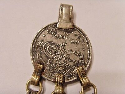 1948 rare Pakistan first mint silver coin tribal nomads memorial pendant 46457