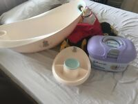Baby bath. Cleaning tray and box