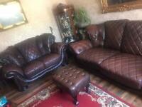 Italian leather sofa set