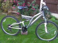 "Gents Mountain Bike, Front and Rear suspension, 26"" Alloy wheels with good tyres. 18""Frame, 18 gears"