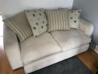 2 x 2 seater beige sofas with cushions for collection