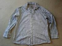 Mantaray shirt, blue and white stripes, size large