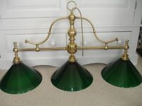 Vintage brass and glass light fitting for over snooker table.