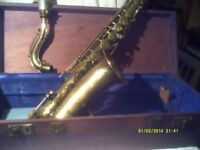 C MELODY SAXOPHONE by CUESNON of PARIS , In BRASS COMPLETE with MOUTHPIECE & CASE ++++