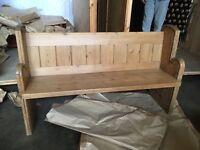 Original wood church pew