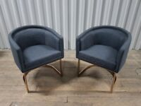 4X Grey Fabric Accent / Dining Chairs by Coach House with Rose Gold Base BNWT