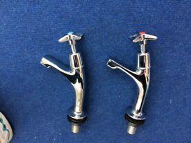 Pair of Chrome Sink Taps
