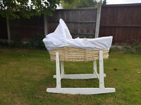 Moses Basket with rocking stand and mattress + new 2xfitted sheets