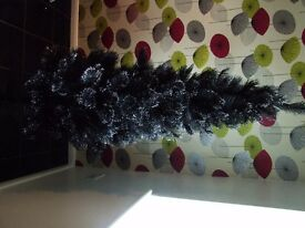 6ft Next Black Christmas Tree with Silver Glitter tips
