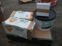 OVER 140 NEW WHITE WALL TILES AND NEW LARGE TUB OF TILE ADHESIVE