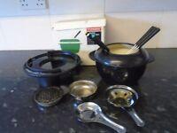 black cast iron fondue set retro
