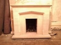 Agean limestone fireplace and hearth