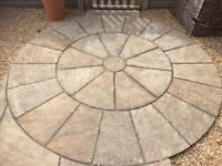 Golden Fossil Sandstone Paving Slabs to Create a Circle