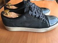 Luxurious Lanvin Toe Cap mens calf skin sneakers navy blue, 43 / uk8, rrp £315