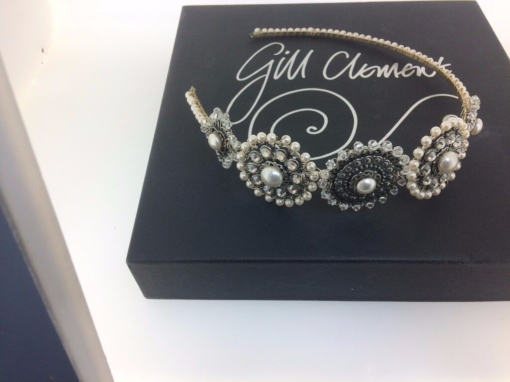 Bespoke/ handmade pearl and pewter bridal head band/By Welsh Designer Gill Celment, Mumbles