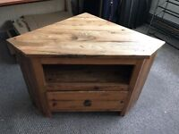 Solid wood and cast iron rustic style corner unit, TV stand
