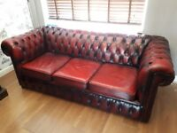 Vintage Chesterfield 3 seater sofa in oxblood leather