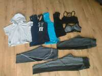 Womens size 10 fitness exercise gym yoga running 10 items bundle leggings activewear tops