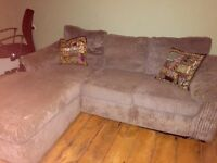Cord chocolate brown corner sofa