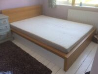 IKEA Malm oak double bed with barely used mattress and duvet