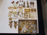 Vintage gold coloured Christmas Decorations. 50+items. All sorts and styles.