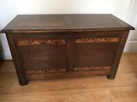 LARGE VINTAGE BLANKET BOX, TOY CHEST, SEAT, COFFER. DARK WOOD, CARVED