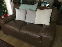 Brown leather 3 seat sofa 1 recliner 1 chair
