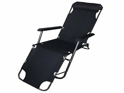 Zero Gravity Sun Lounger Chair Recliner Garden Bed Reclining Headrest Folding