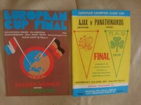 European Cup Final programmes 1971 and 1976