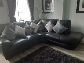 Top quality black leather corner sofa