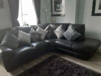 Top quality black leather corner sofa