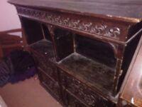 Large Old Carved Wooden Bureau