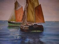 ORIGINAL OIL PAINTING DEPICTING TWO SAILING BOATS, TIED UP AT ANCHOR IN MIDDLE OF OCEAN