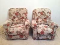 Pair of Beautiful floral country rose fabric manual reclining armchairs .
