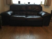 3 & 2 seater brown leather sofa's, one seat on each fairly worn, very comfortable.