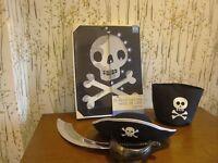 Pirate bundle, light up skull and crossbones canvas,sword,hat and storage bag